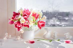 цветы, букеты,  композиции, фрезия, тюльпан
