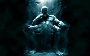 фэнтези, существа, мужчина, трон, набедренная, повязка, взгляд