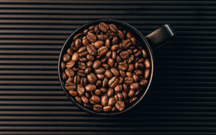 еда, кофе,  кофейные зёрна, чашка, зерна, кофейные