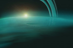 уран, космос, планета, вселенная, поверхность, грунт, бирюза, горизонт, пространство, пустыня, атмосфера, облака, туман
