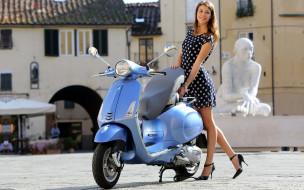 мотоциклы, мото с девушкой, vespa, lx