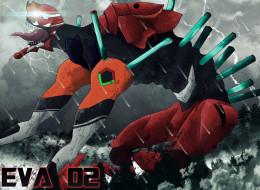аниме, evangelion, eva, меха, робот, монстр