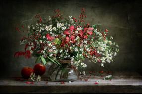 цветы, букеты,  композиции, ромашки, листья, ягоды