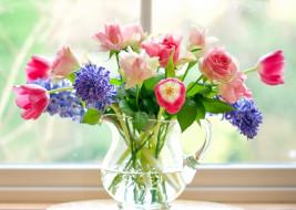 цветы, букеты,  композиции, гиацинты, пионы, розы