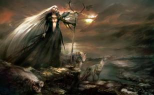 фэнтези, маги,  волшебники, девушка, посох, тучи, волки, кабан, скалы