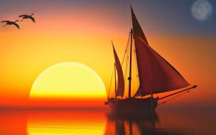 обои для рабочего стола 2560x1600 3д графика, природа , nature, небо, закат, лодка, яхта, парус, ялик, птицы, солнце, море, отражение, свет