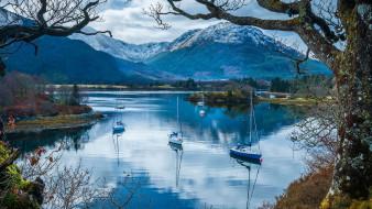 корабли, яхты, горы, озеро