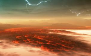 венера, космос, планета, вселенная, поверхность, грунт, камни, горизонт, пространство, пустыня, небо, атмосфера, магма, лава
