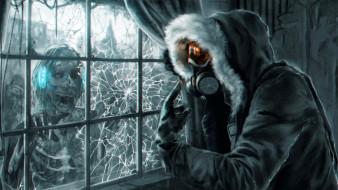 фэнтези, нежить, зомби, окно, трещины, человек