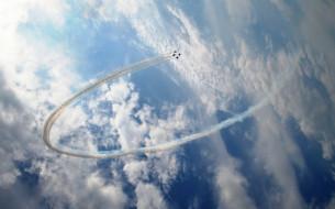 авиация, боевые самолёты, пилотажная, группа, небо, вираж, истребитель