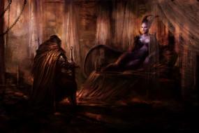 фэнтези, демоны, воин, демонесса, трон