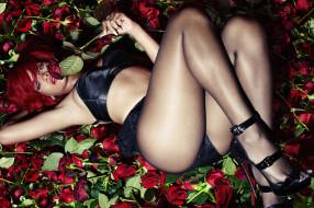 rihanna, музыка, цветы, розы, девушка, модель, певица, мулатка, взгляд, макияж, причёска, красотка, темнокожая, флирт, поза
