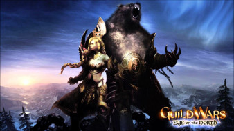 видео игры, guild wars,  eye of the north, девушка, медведь, броня, горы, лес