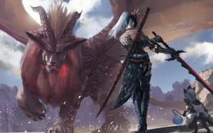 видео игры, monster hunter world, девушка, оружие, монстр, крылья