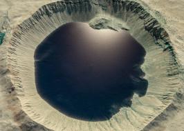 марс, космос, кратер, планета, вселенная, поверхность, грунт, камни, красная, горизонт, пространство, пустыня
