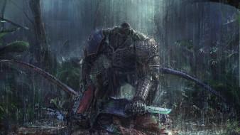 видео игры, warhammer 40k, броня, оружие, дождь, джунгли