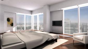 обои для рабочего стола 1920x1080 3д графика, реализм , realism, комната, кровать, окна, город, интерьер