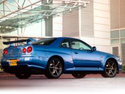 автомобили, nissan, datsun, синий, здание