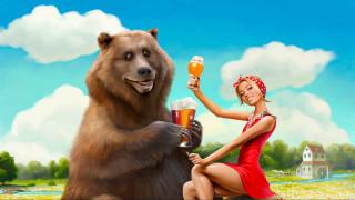 обои для рабочего стола 2560x1440 юмор и приколы, девушка, медведь, пиво, маша, красный, кружка, юмор, прикол, животное, блондинка, улыбка