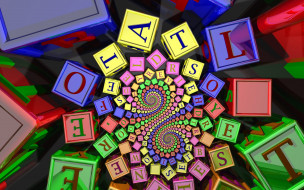 3д графика, абстракция , abstract, кубики, буквы, спирали