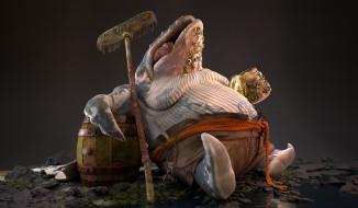 обои для рабочего стола 3500x2041 3д графика, животные , animals, кит, кракен, чудище, татуировки, швабра, кресло, язык, монстр