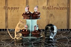 праздничные, хэллоуин, череп, скелет, кексы, надпись