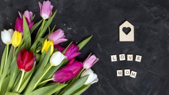 праздничные, день матери, тюльпаны, сердечко, надпись