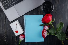 праздничные, день святого валентина,  сердечки,  любовь, блокнот, роза, открытка, надпись