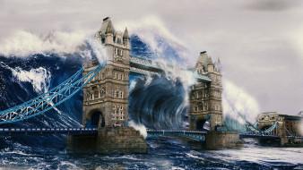 tsunami, фэнтези, иные миры,  иные времена, волна, лондон, англия, мост, тауэр, вода, стихия, бедствие, катастрофа, здание, апокалипсис, наводнение