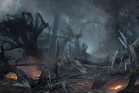 обои для рабочего стола 3452x2319 видео игры, horizon zero dawn, лес, пожар, девочка, разруха