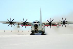 авиация, грузовые самолёты, зима, самолет, посадка, пропелеры