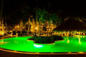 обои для рабочего стола 1920x1280 интерьер, бассейны,  открытые площадки, бассейн, пальмы, подсветка