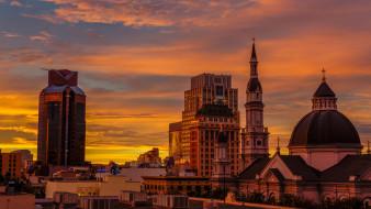города, - здания,  дома, закат, сакраменто, здания, город, калифорния, сша