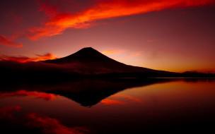 природа, восходы, закаты, вечер, горы, закат, отражение, небо, багряное, красное, пейзаж, вода, красота