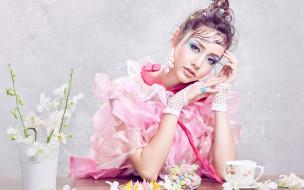 девушки, - азиатки, макияж, азиатка, серьги, цветы, sofie