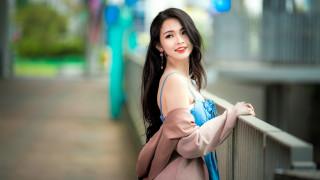 девушки, - азиатки, серьги, платье, поза