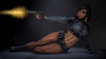 видео игры, overwatch, девушка, фон, выстрел, пистолет