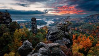 природа, горы, саксонская, швейцария, германия