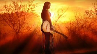 музыка, -другое, девушка, гитара, инструмент, солнце, природа, вечер, закат, сияние, небо, жёлтый, золотой, туман, свечение, струнный, музыкант, пейзаж, поза, брюнетка, платье