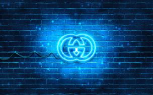 синий, логотип, gucci, 4k, кирпич, модные бренды, неоновый логотип