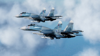 су-27, авиация, боевые самолёты, сухой, су27, пара, небо, боевой, вылет, ввс, россии