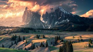природа, горы, доломитовые, альпы, италия
