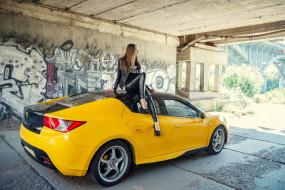 тагаз aquila, автомобили, -авто с девушками, тагаз, aquila, автомобиль, жёлтый, девушка