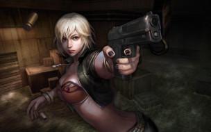 девушка, пистолет, гильза, склад