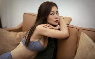 девушки, - азиатки, нижнее, белье, поза