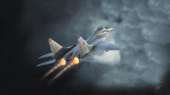миг- 29, авиация, 3д, рисованые, v-graphic, микоян, истребитель, миг29, военная
