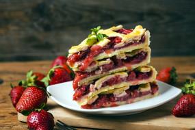 еда, пироги, мята, пирог, слоеный, клубника