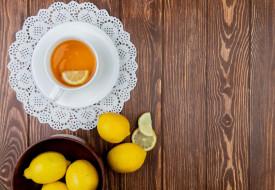 еда, напитки,  чай, лимоны, чай, салфетка
