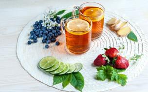 еда, напитки,  чай, черника, лайм, чай, имбирь, клубника