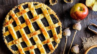 еда, пироги, мак, пирог, яблоко